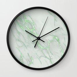 Marble Love Green Metallic Wall Clock