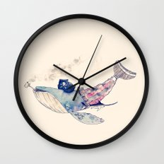 Pirate Whale Wall Clock