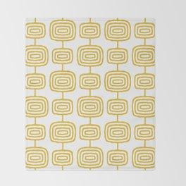 Mid Century Modern Atomic Rings Pattern Mustard Yellow 3 Throw Blanket