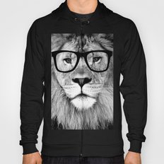Hippest Lion with glasses - Black and white photograph Hoody