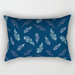 Pencil Feathers Pattern on Dark Blue Rectangular Pillow