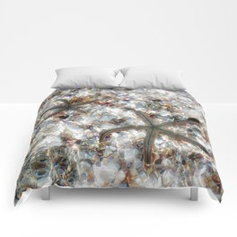Starfish and Seashells by Barbara Chichester Paintographer Comforters