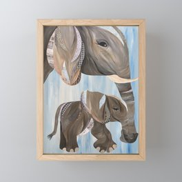 Mother and Baby Elephant Framed Mini Art Print