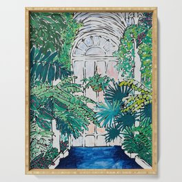 Kew Gardens Sunrise Walkway Greenhouse Jungle Painting London Serving Tray