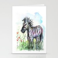 zebra Stationery Cards featuring Zebra by Olechka