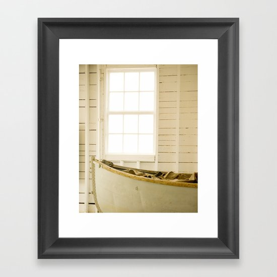 Boathouse Nautical Vintage Boat Yellow Gold White Framed Art Print