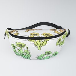 Modern abstract teal coral gradient floral cactus Fanny Pack