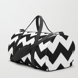 BLACK AND WHITE CHEVRON PATTERN - THICK LINED ZIG ZAG Duffle Bag
