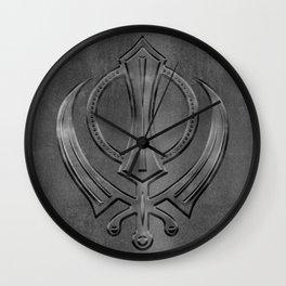 Metallic Embossed Khanda symbol Wall Clock