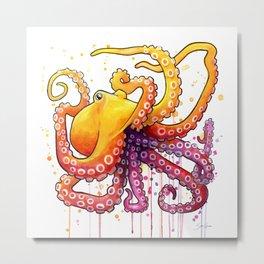 Octopus Sunrise Metal Print