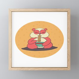 Kawaii Panda Eating Ramen Framed Mini Art Print