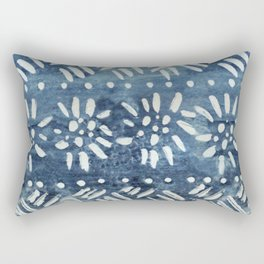 Vintage indigo inspired  flowers and lines Rectangular Pillow