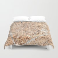 brussels Duvet Covers featuring Vintage Map of Brussels (1905) by BravuraMedia