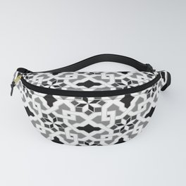 black and white -  Oriental design - orient  pattern - arabic style geometric mosaic Fanny Pack