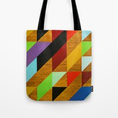 triangles on wood Tote Bag