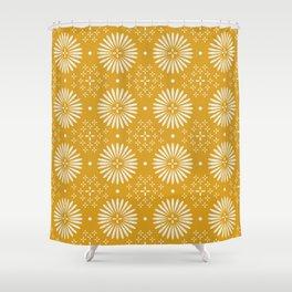 Happy Sunshine - yellow art, sunshine, boho art, bohemian, tile, home decor, yellow, yellow art print Shower Curtain