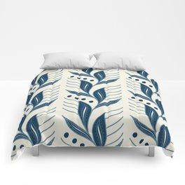 Indigo Leaves #society6 #pattern #indigo Comforters