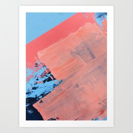 Reveal [4] a minimal abstract mixed-media piece in pinks and blue by Alyssa Hamilton Art Art Print