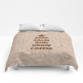 Keep Calm and Drink Coffee Typography Comforters