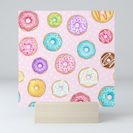 Scattered Rainbow Donuts on pale spotty pink - repeat pattern Mini Art Print