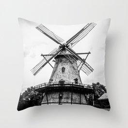 Historic Dutch Fabyan Windmill Hollan Smock Mill Geneva Illinois Black and White Throw Pillow