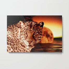 Leopard and Red Moon Metal Print