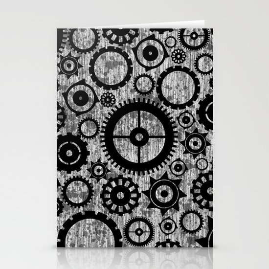 Grunge Cogs. Stationery Cards