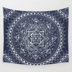 White Flower Mandala on Dark Blue Wall Tapestry