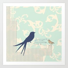 Upon the Nearest Breeze - Blue Art Print