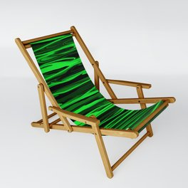 Lime Green and Black Stripes Sling Chair