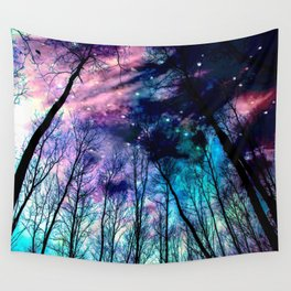 Black Trees Colorful SpacE Wall Tapestry