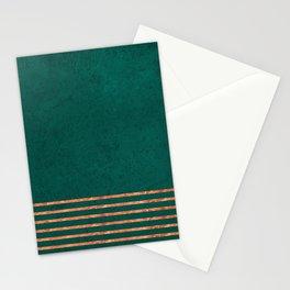 EMERALD COPPER GOLD BRASS STRIPES Stationery Cards