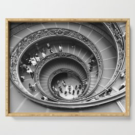 Vatican spiral staircase black and white Serving Tray
