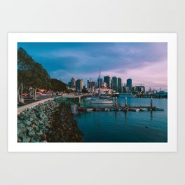 Moody sunset by Downtown San Diego Art Print