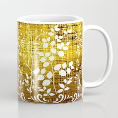 White leaves decor on golden background Mug