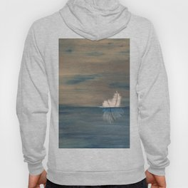 Floating Feather. Original Painting by Jodilynpaintings. Abstract Feather on Water. Hoody