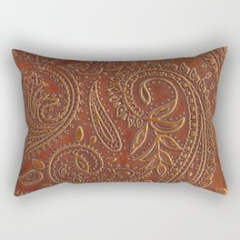 Rusty Tooled Leather Rectangular Pillow