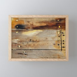 Wooden shipboard with nails and screws Framed Mini Art Print