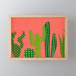 Cactus on a wall Framed Mini Art Print