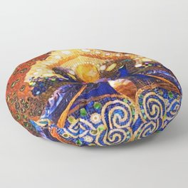 Peacocks in Lily Pond Mosaic Painting by Louis Comfort Tiffany Floor Pillow