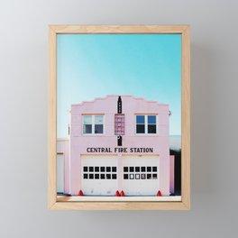 Marfa, Texas Pink Fire Station Framed Mini Art Print