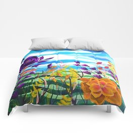 Summer Spectacular, Abstract Floral Landscape, Bright Wild Flowers Comforters