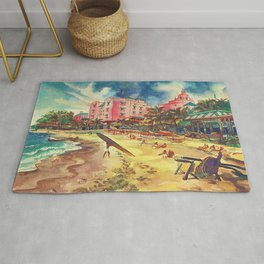 Hawaii's Famous Waikiki Beach landscape painting Rug