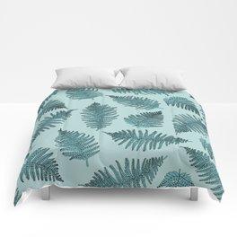Blue fern garden botanical leaf illustration pattern Comforters