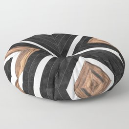 Urban Tribal Pattern No.1 - Concrete and Wood Floor Pillow