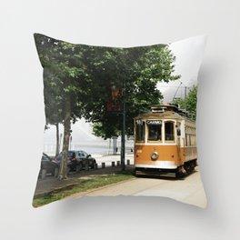 Porto Tram Throw Pillow