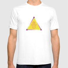 Merkaba Triangle Yellow MEDIUM White Mens Fitted Tee