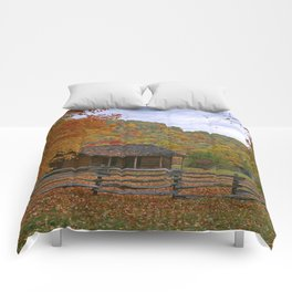 Log Cabin in Autumn Comforters