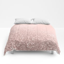 Rose Gold Sparkles on Pretty Blush Pink VI Comforters