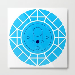 Moon - Mid Century Modern Geometry Pastel Blue Metal Print